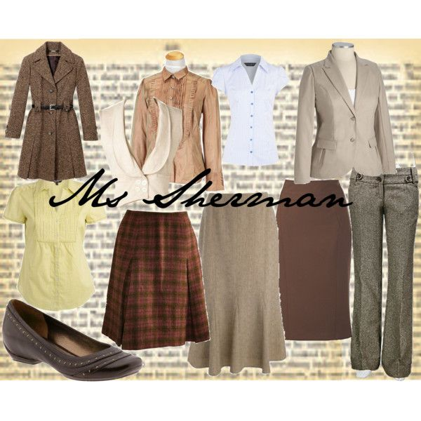 Fame - Ms Sherman by alicelowndes on Polyvore featuring April Cornell, Dorothy Perkins, Old Navy, Debenhams Classics, Freshwear, Pendleton, Kenneth Cole Reaction, costume design, teacher and fame