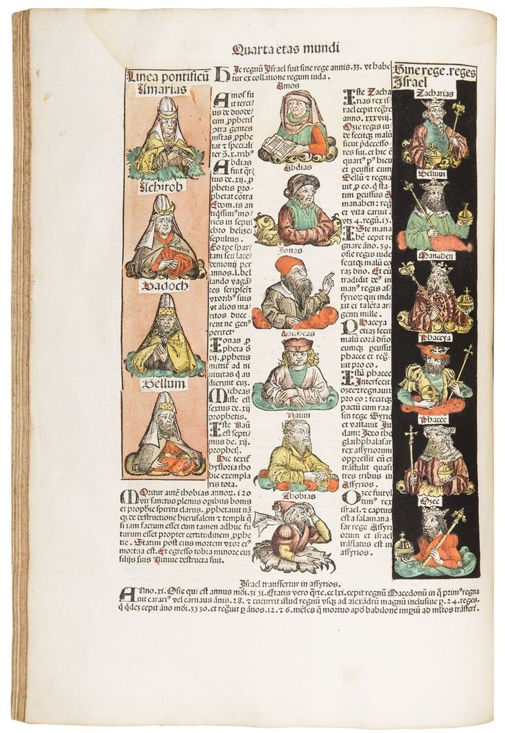 First edition. The 'Nuremberg Chronicle' is regarded as the most richly illustrated incunable and the biggest book venture in the era of Dürer. The 32 authentic, double-page views are at the heart of the Chronicle's great popularity, even until today. This copy features the original publisher's colouring.