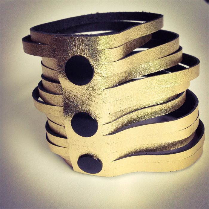 Gold recycled leather multi splice cuff