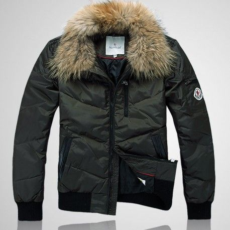 $279.59 moncler boys jackets,Moncler Men Fur Collar Leisure Jackets Army  Green http:/