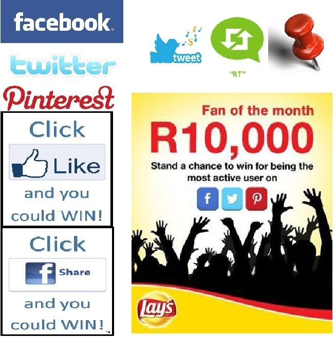 Lays are giving away R10,000 to their most active fan who has the most creative and original posts and comments! ENTER NOW on Facebook, Twitter and Pinterest!