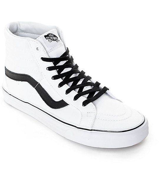 Add a reissued classic style to your kicks game with the updated Vans Sk8-Hi Reissue skate shoes. These classic high top shoes feature a true white canvas design with padded high top collar on a vulcanized outsole for flexible board feel and Vans' classic