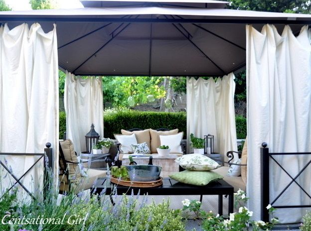 back porch cabana: Ideas, Curtains, Outdoor Rooms, Outdoor Living, Patio, Outdoor Cabanas, Backyard, Outdoor Spaces, Centsat Girls