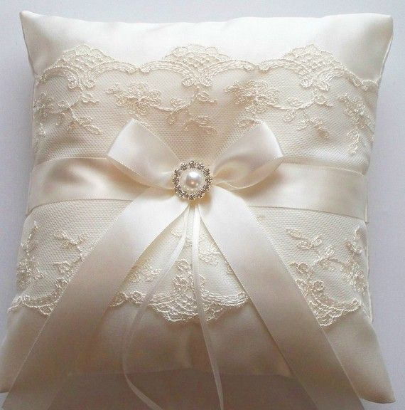 Wedding Ring Pillow with Net Lace, Ivory Satin Bow and a Pearl Surrounded by Crystals - The NICOLE Pillow
