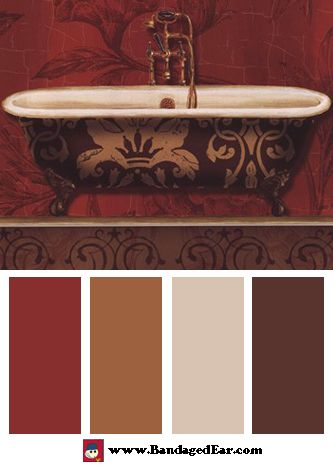 Bathroom Color Palette: Royal Red Bath I