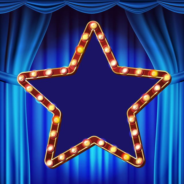 Retro Star Billboard Vector Blue Theater Curtain Shining Light Sign Board Realistic Shine Lamp Frame 3d Electri Theatre Curtains Background Banner Illustration