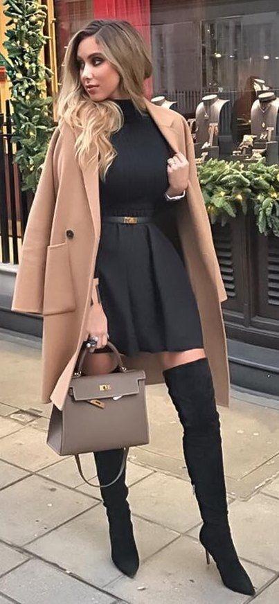 Camel Coat + Black Dress
