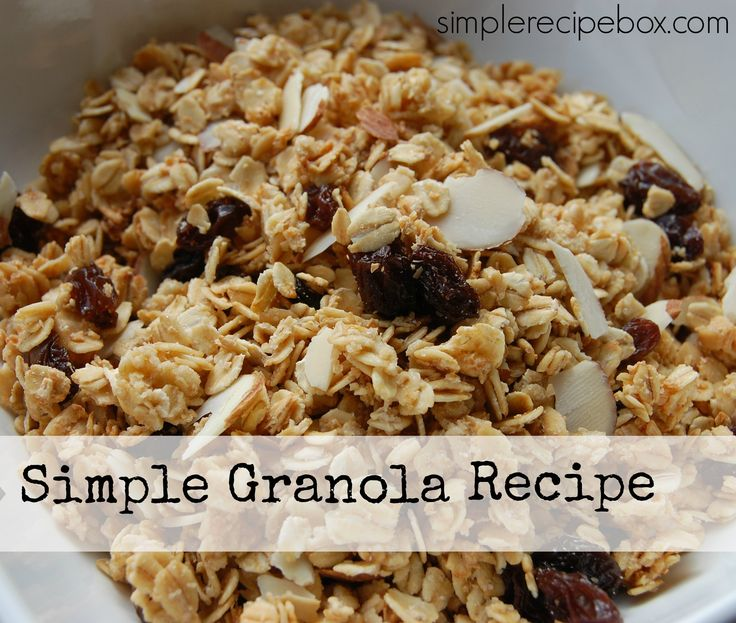 Here's a super simple granola recipe that costs less than the boxed version and tastes better too! This recipe lasts our family of 8 for a whole week of breakfasts. Get the kids in the kitchen to help on Sunday night and set your week up for easy mornings.