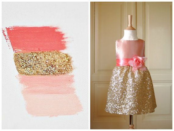 Blush Gold Flower girl Dress Wedding Bridesmaid Sequin Tulle Pageant Party Bridal on Etsy, $76.00