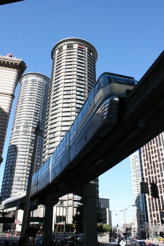 Blue Monorail Seattle Two monorail tracks
