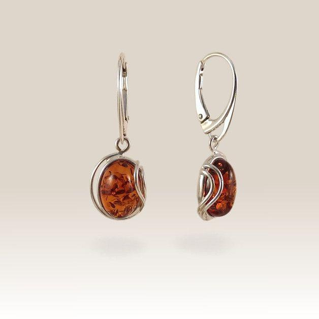 Geschenke für Frauen - Bernstein Ohrring | Geburtstagsgeschenk | 33x12mm - ein Designerstück von ZaNa-Design bei DaWanda