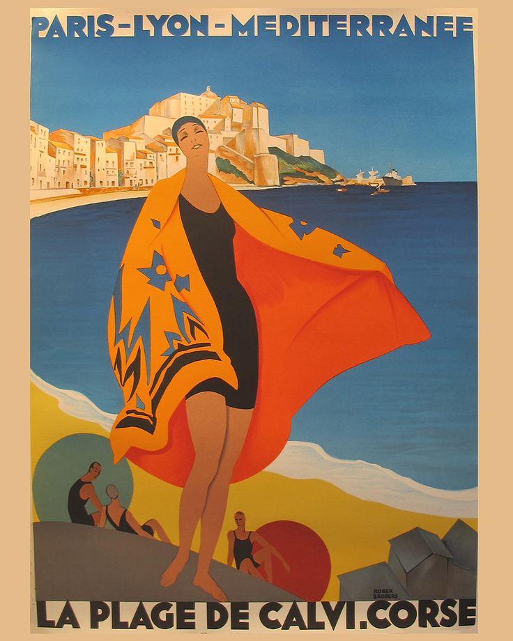 PARIS-LYON-MEDITERANEE Vintage French travel poster Beach