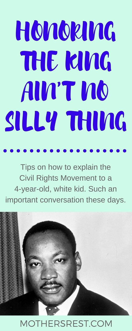 Tips on how to explain the Civil Rights Movement to a 4-year-old, white kid. Such an important conversation these days. Especially given the state of political discourse. Plus, you'll find a link to a list of children's books that tackle racism and ethnicity.
