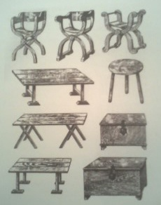 "Following the Spanish conquest in the 16th century, the Spanish Colonial era, based from European-style furniture, was introduced. ""X-frame chair similar to the Renaissance sedia, trestle tables, beds, and chests"" were recreated (shown above). In Latin America during this time, both Baroque and Renaissance styles were popular, but were ""centered on religious imagery, the building of churches,"" and an official aesthetic of ""Baroque New Spain"" included ""paintings, interiors, and furniture."""