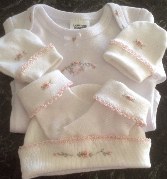 Baby girl hand embroiderd set With bullion roses.
