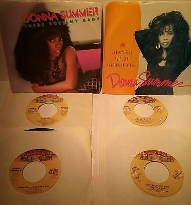 Lot-of-6-DONNA-SUMMER-45-records-2-w-PICTURE-SLEEVES-4-Generic-Sleeves