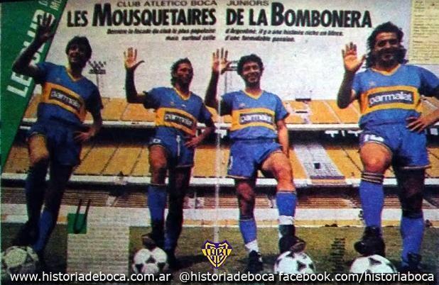 1992. La revista Onze hizo una nota con los 4 campeones que jugaron en Francia: Simón, Cabañas, Tapia y Márcico