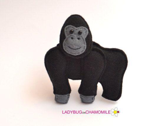 Felt GORILLA stuffed felt Gorilla magnet or ornament Gorilla