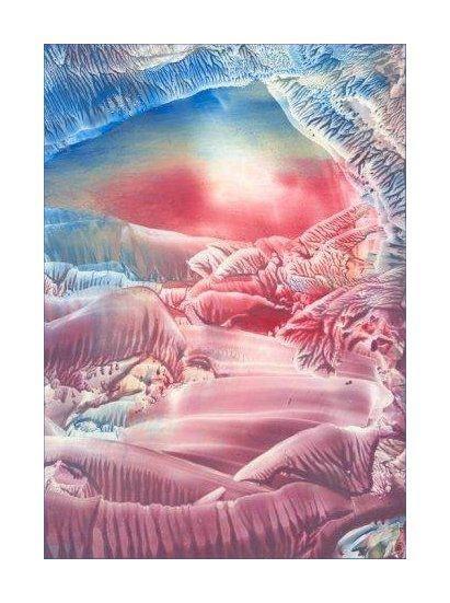 Sunrise = Encaustic art wax fantasy landscape painting.