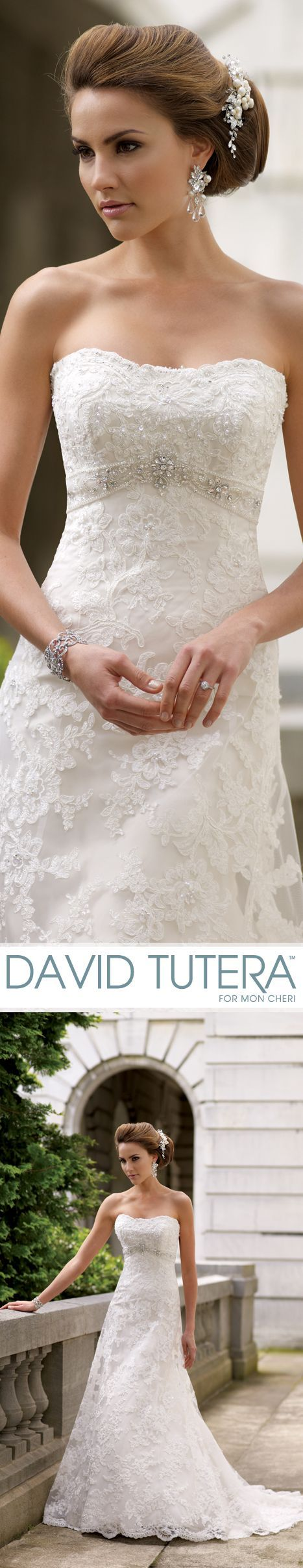 Wedding Hairstyle For Long Hair  : Style No. 113211  Anita Strapless embroidered lace with hand-beaded accents and