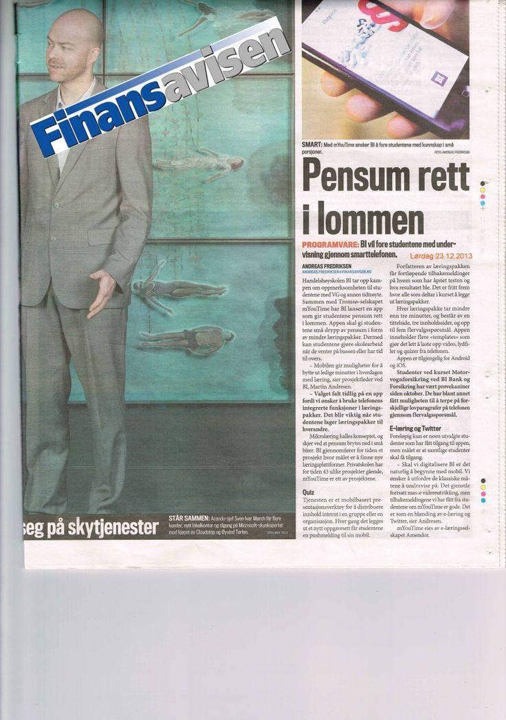 Artikkel i dagen Finansavisen om vår mobil læringsapp www.myoutime.com