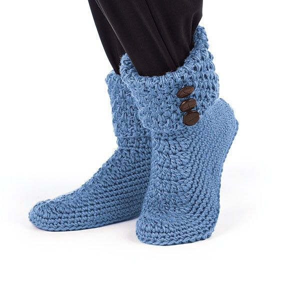 Keep your feet warm with these stylish slippers to crochet in any Best Value color. #crochetslipper