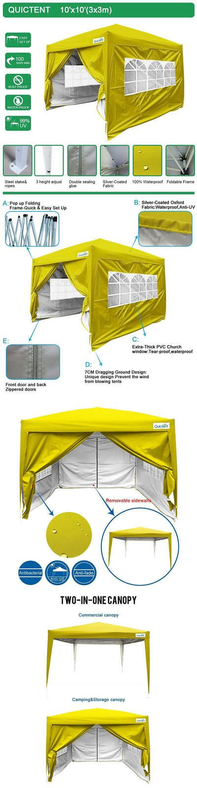 Marquees and Tents 180994: Quictent Silvox Waterproof 8X8 Ez Pop Up Canopy Gazebo Party Tent W Sides Yellow -> BUY IT NOW ONLY: $129.99 on eBay!