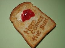"☆ welcome toast magnet ""Here comes the sun"""
