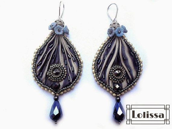 Shibori earrings Evening Mist by Lolissa on Etsy