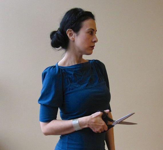 Jersey de coton haut, Top femme, pliée, plié plus de détails, manches bouffantes, moderne chic - réalisé sur commande, unique en son genre