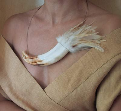 Warthog Tusk and feather necklace..................................Yeah  I have always wanted this !!!  NOT !!!