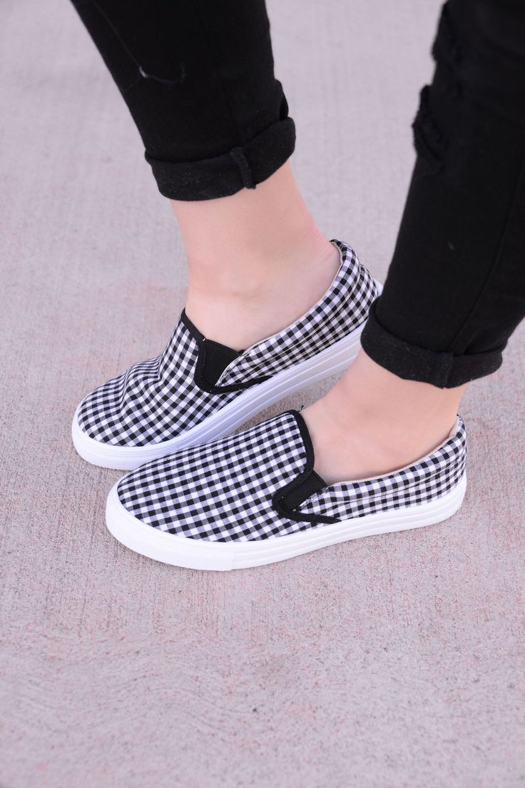 Walk It Out Black/White Slip-On Sneakers - SHO900BW