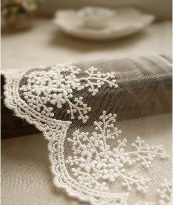 White Embroidery Lace Trim Nets Yarn Lace Cotton by JolinTsai, $3.00