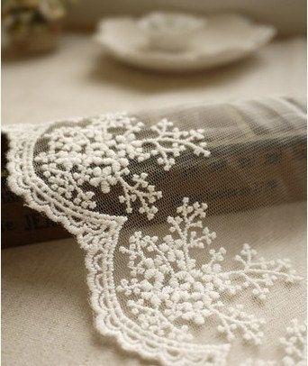 Blanco algodón bordado encaje encaje ajuste 1 yarda por JolinTsai