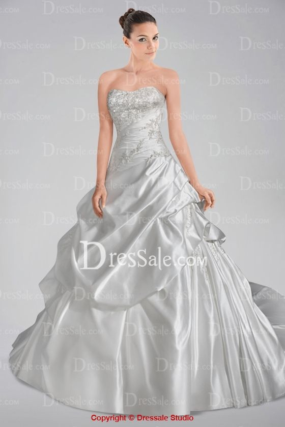 Striking A-line Dipped Wedding Dress with Pick-ups