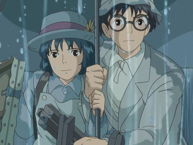 Miyazaki's anime cartoon The wind rises, heroes in the rain.