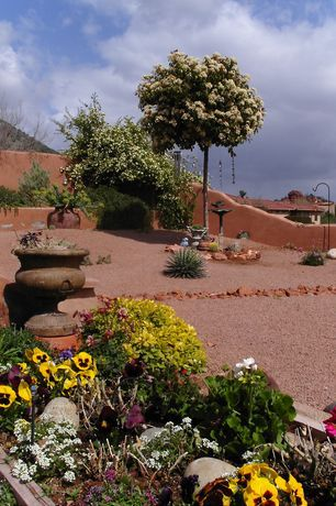 Southwestern Landscape/Yard with exterior stone floors, Bird bath, Raised beds, Fence