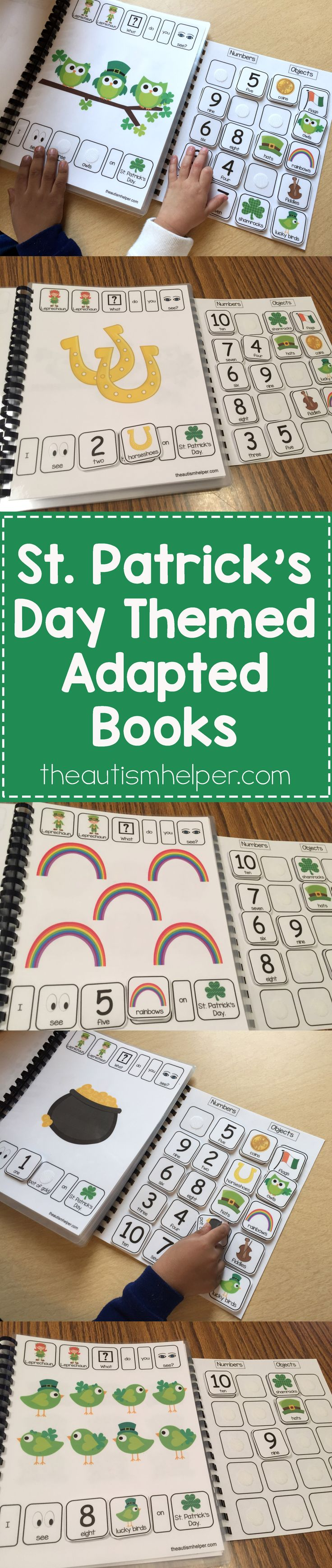 Kick off your St. Patrick's Day holiday with our holiday-themed adapted books!! From theautismhelper.com #theautismhelper