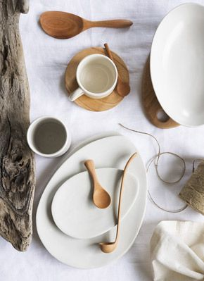 "Australian brand ""attia"" stoneware & wood pieces.   ""Calm and considered shapes that hale from humble origins, attia promotes living with a simple yet chic palette using multifunctional pieces to inspire natural beauty at the table."""