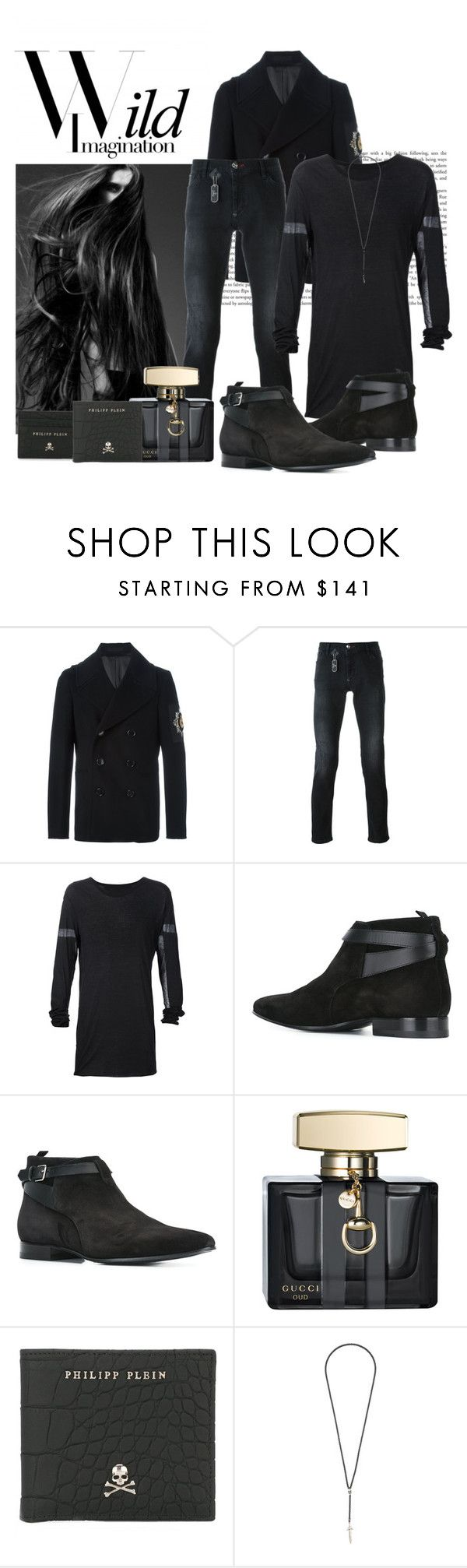 """""""Wild Imagination by Kole"""" by houseofstone-1 ❤ liked on Polyvore featuring Karl Lagerfeld, Alexander McQueen, Philipp Plein, Yves Saint Laurent, Gucci, Roman Paul, men's fashion and menswear"""