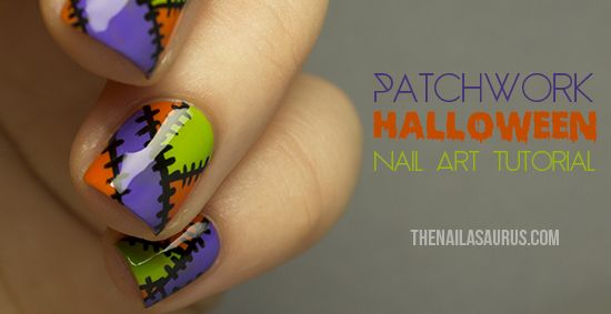 The Nailasaurus: Halloween Patchwork Nail Art Tutorial