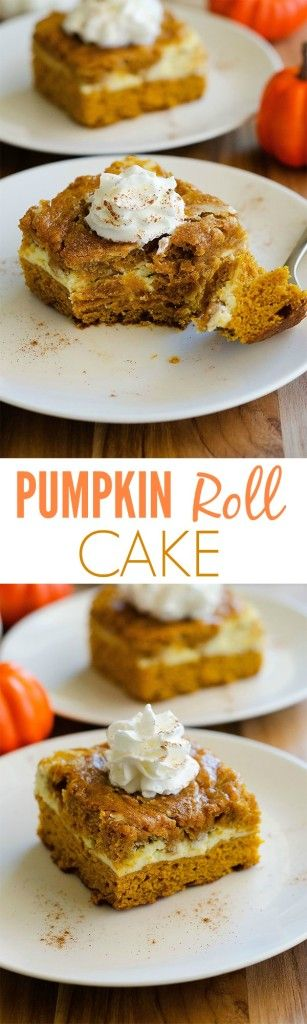 This cake tastes just like Pumpkin Rolls but a lot easier to make!
