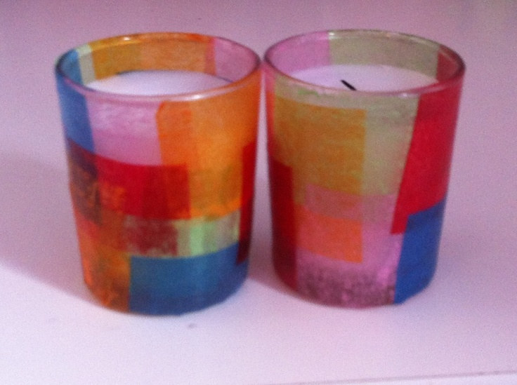 This is a beautiful and functional craft. Just take some modge podge and tissue paper and decorate a stained glass candle. As you burn the candle it makes a more and more beautiful colors through the tissue paper!