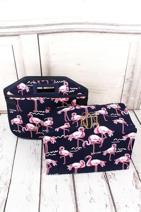 Flamingo Party Utility Storage Tote With Insulated Bag/ Trunk