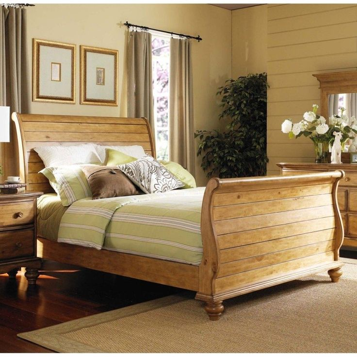 affordable pine bedroom furniture sets with yellow bed cover and cream painted wall decor