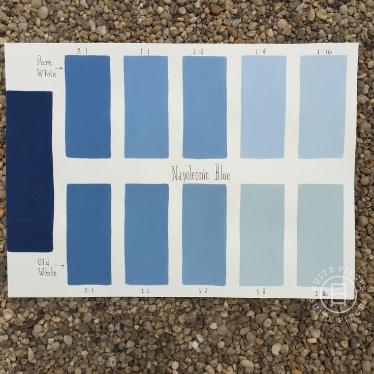 Chalk Paint® Napoleonic Blue Custom Color Chart using Pure White and Old White. Read more on our blog at Suitepieces.com | Suite Pieces