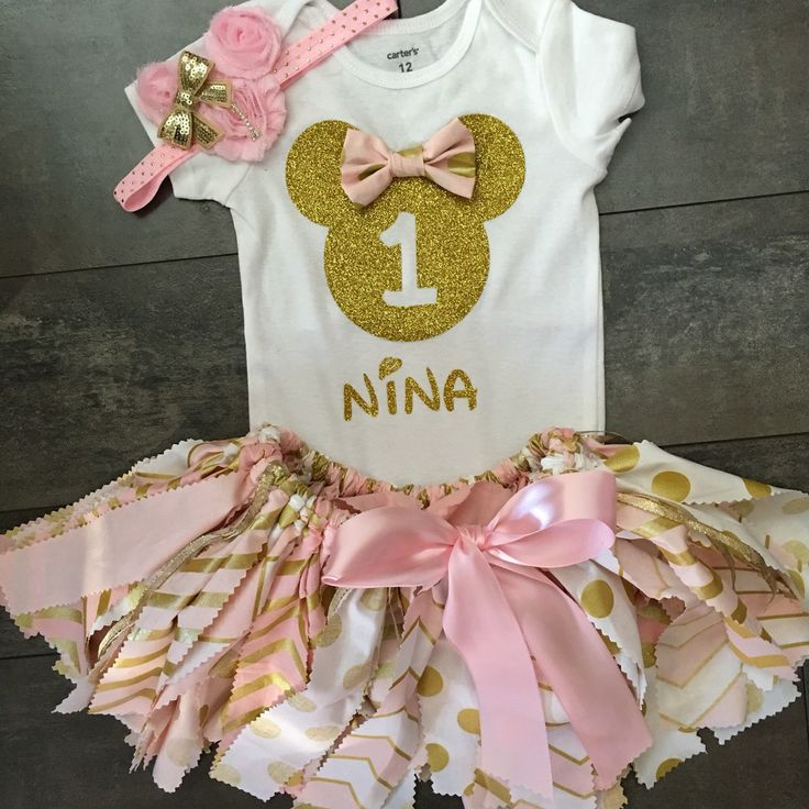 New pink and gold Minnie Mouse birthday set