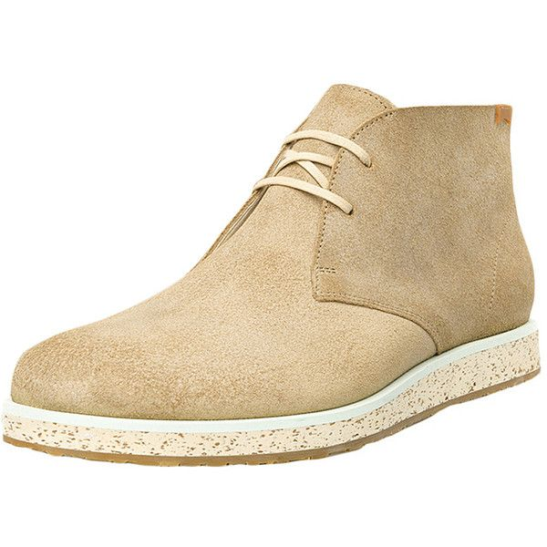 Camper Men's Magnus Chukka Boot - Cream/Tan - Size 39 ($129) ❤ liked on Polyvore featuring men's fashion, men's shoes, men's boots, mens chukka shoes, mens leather lace up shoes, mens leather lace up boots, mens tan boots and camper mens shoes