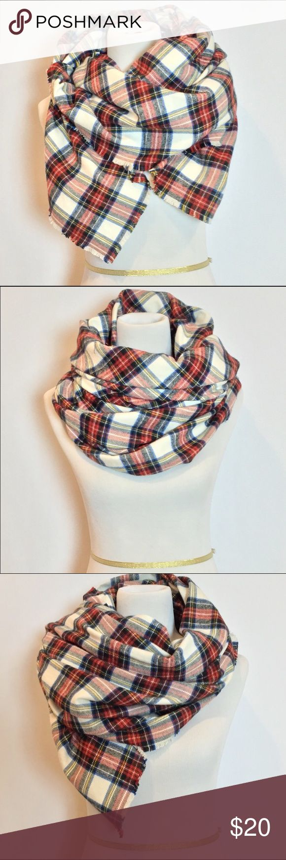 Plaid Tartan Blanket Scarf Stay cozy and comfortable this season with this beautiful oversized blanket scarf. Made from high quality, medium weight, soft fabric, this scarf will keep you warm all season long.  Cut wide & extra long to allow for even more layering & styling opportunities. This piece is finished with fringed edges for an added bohemian & vintage touch. NWOT! Accessories Scarves & Wraps