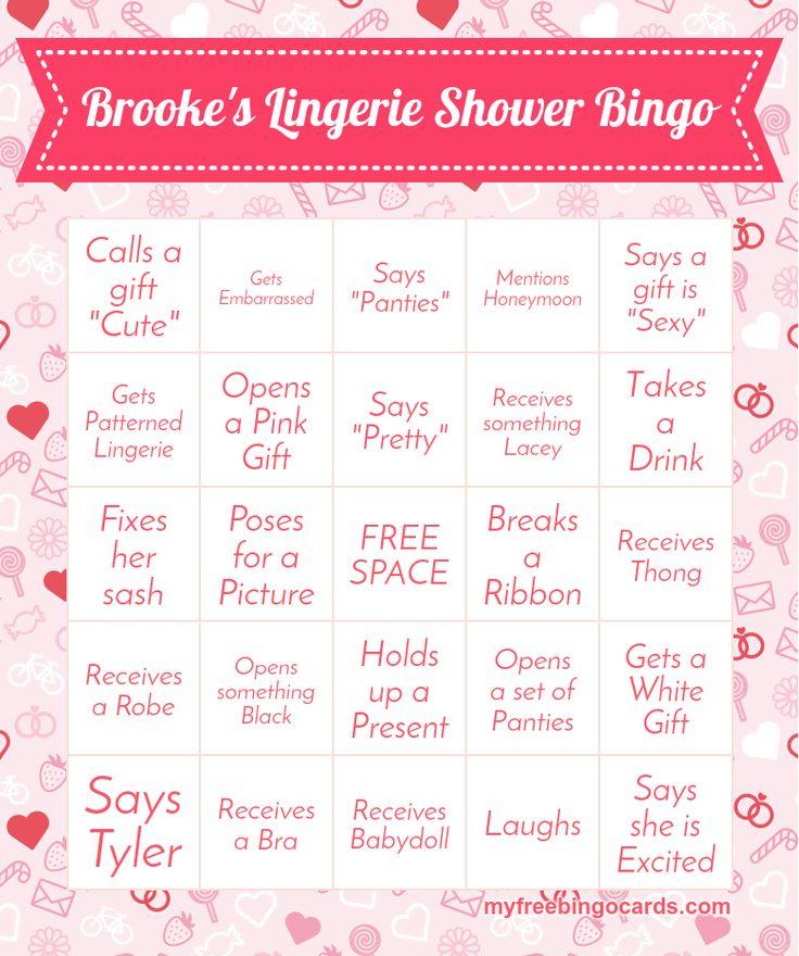 Lingerie Shower Bingo